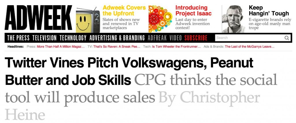 Twitter Vines Pitch Volkswagens, Peanut Butter and Job Skills | Adweek-2